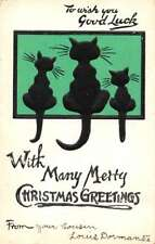 """Christmas Greetings Cat Silhouette """"Good Luck"""" Antique Postcard J73247"""