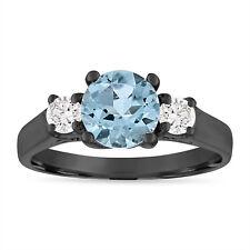 Vintage Aquamarine Engagement Ring, Three Stone Ring 1.45 Carat 14K Black Gold