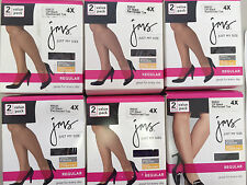 2 PAIR Just My Size Womens Silky Panty Hose Off Black Reiniforced Toe 4X