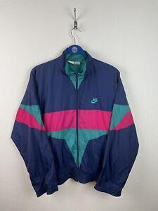 Nike 90s Trainingsjacke Gr.L Vintage Retro Herren Mode Blau Pink