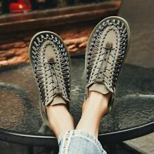 38-46 Men Outdoor Sports Non-Slip Flat Woven Beach Slingbacks Sandals Shoes Fei0