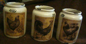3 Chicken Crock Sepia Rooster Mint