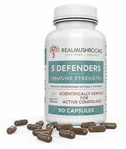 5 Defenders Organic Mushroom Extract Blend by Real Mushrooms - 90 Capsules - Cha