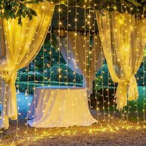 300 LED Curtain Fairy Lights String Hanging Window Wall Lights Party Xmas Decor