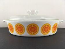 Vintage Retro Pyrosil Ware 'Orange' Design Casserole Dish & Lid ~ 22.5cm