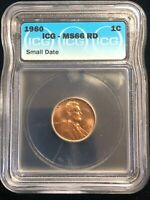1960 MS 66 RD Small Date Variety Lincoln Cent Penny 1C