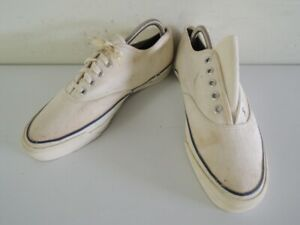 Vintage 1960s 1970s JC Penney Penneys White Canvas Deck Shoes Sneakers Size 7