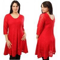 Damen Kleid von Magna - schlankmachend - elegant - Spitze - Rot - 44/46 -56/58