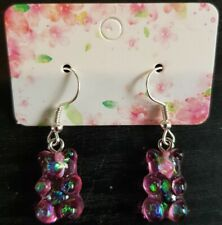 Pink Glittery Gummy Bear Earrings