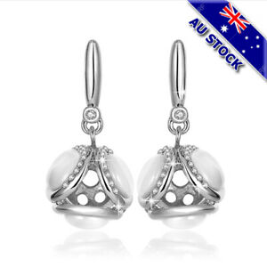 18K White Gold Filled Clear Zirconia Crystal Cat's Eye Ball Dangly Earrings Gift