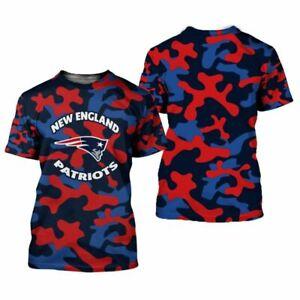 New England Patriots Men's T-shirts Casual Tee Tops Summer Activetops Fans Gift