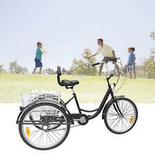 "24"" 6 Speed Adult 3-Wheel Bicycle Tricycle Cruiser Adustabel Seat w/ Basket"