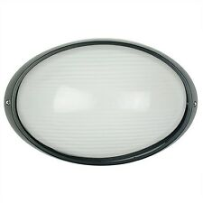 Outdoor  LED compatible oval bunker wall light -IP54 black external.