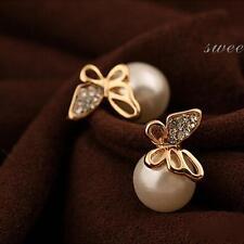 Jewelry Crystal Butterfly Ear Stud Earrings Pearl