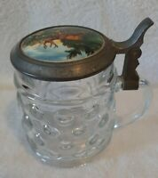 ANTIQUE GLASS BEER STEIN PORCELAIN & PEWTER WITH LID WITH FIVE PART OPEN HING