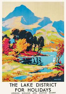 VINTAGE RAILWAY POSTER The Lake District Travel Wall Art PRINT A3 A4