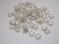 50 Snowflake Spacer Beads (8mm) Silver Plated Christmas Jewellery Beads
