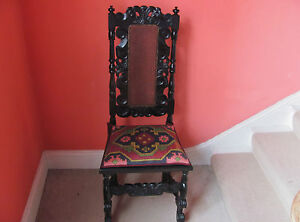 17th century style ebonised cane seated chair