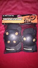 Mongoose Gel Shields Knee Elbow Guards Pads Black Bike Skate Gear & Bag Set New
