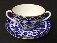 """Antique Royal Doulton Clifton 3&1/2""""(6oz) Cream Soup Bowl & Saucer Blue Flowers"""