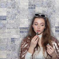 Wallpaper modern wall coverings cities names urban blue textured rustic 3D rolls