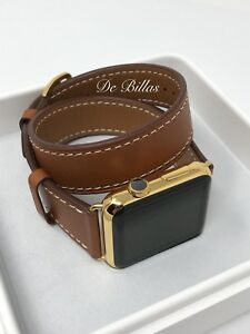 24K Gold 42MM Apple Watch Gen 1 With Double Tour Brown Leather Band