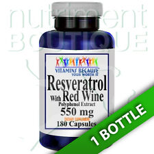 Resveratrol with Red Wine 550mg Polyphenol Extract 180 Caps Vitamins Because