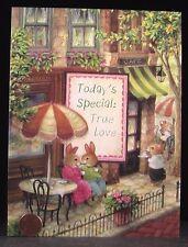 SUSAN WHEELER Holly Pond Hill Greeting Card Bunny Rabbits Cafe Umbrella Card NEW