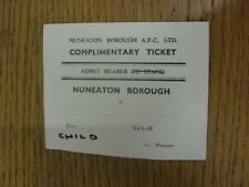 20/12/1972 Ticket: Nuneaton Borough v Unknown Opposition [Ticket Is Date Stamped