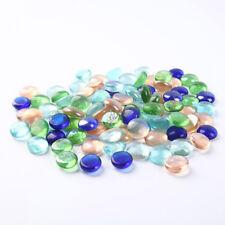 Artificial Colorful Flat Beads Glass Stone Pebbles Fish Tank Aquarium Decoration