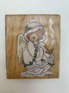 """Stampendous 1996 Hark The Herald Angels Sing Wooden Rubber Stamp Enesco 3x2.8"""""""