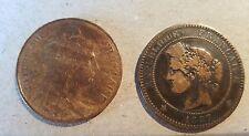 FRANCIA . Lote de 2 monedas de 10 céntimos, año 1897 A y 1902. Diametro 30 mm.