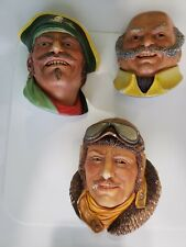 Vtg Lot of 3 Legends Chalkware Hand Painted Busts, Cpt Kidd, Mine Host &  00006000 R.F.C.