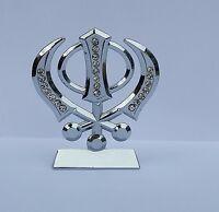 Car Dashboard Mantle Piece 3D Stunning Rhinestones Silver Tone Khanda Stand GIFT