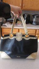 Moschino Leather Bag Handbag Purse Tote Satchel Shopper Black Beige Large