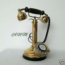 Antique Vintage Brass Royal Retro Design Telephone Rotary Dial Candlestick
