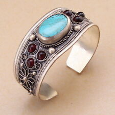 Unisex Vintage Garnet Turquoise Bead Cuff Bracelet Bangle Tibet Silver Gift