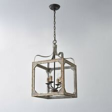 Rustic 4-Light Square Lantern Chandelier Wooden Candle Hanging Pendant Lights UL