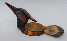 Northwest Coast Native Art Large Loon Bowl Carved & Painted Canada First Nations