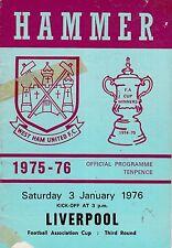 WEST HAM UNITED V LIVERPOOL  FA CUP 3/1/76