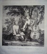 d'ap Eustache LESUEUR Gravure XVIII ALLEGORIE MUSIQUE CHANT POESIE MUSES BAROQUE