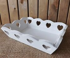 White Shabby Chic Wooden Tea Serving Fruit Trinket Storage Tray Hearts Cut Out