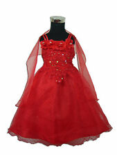 Flower Girl Party Dress Bridesmaid dress Red Pink White Blue 12-18 to 4-5 Years