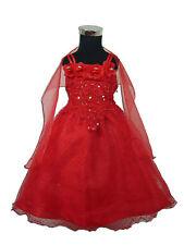 Flor Niña Vestido de Fiesta Dama Honor Rojo Rosa Blanco Azul 12-18A 4-5 Años