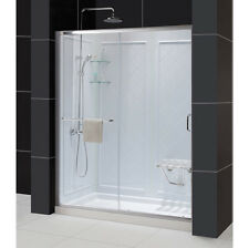 "DREAMLINE ""34 x 60"" INFINITY-Z ENCLOSURE SHOWER DOOR+BASE+BACKWALLS COMBO"