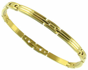 Rochet Roma Solid Stainless Steel Gold Tone Thin Mens Bracelet