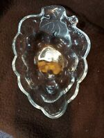 Dish VINTAGE Anchor Hocking? Clear Glass GRAPES Leaf Relish Candy Nuts Snack