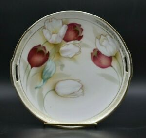 """RS Prussia German Red & white Flowers And Gold 9 3/4"""" Handled Cake Plate"""