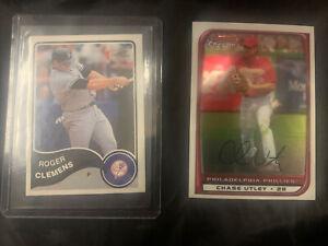 Chase Utley Bowman Chrome Baseball Card #121 2007 2008 Roger Clemens # 150 2003