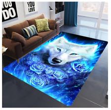 3D White wolf Non Slip Rug Carpet 80 x 160CM mat